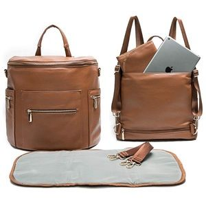 NWT Camel Brown PU Leather Diaper Bag Backpack